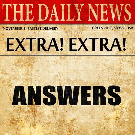antwoorden, artikeltekst in krant
