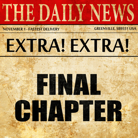 final chapter, article text in newspaper Stock Photo