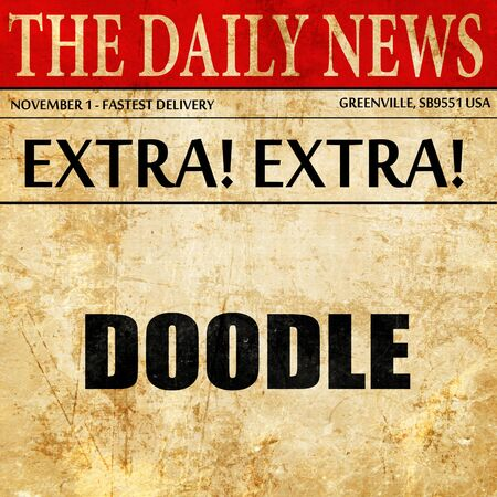 doodle, article text in newspaper