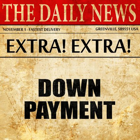 downpayment: downpayment, article text in newspaper
