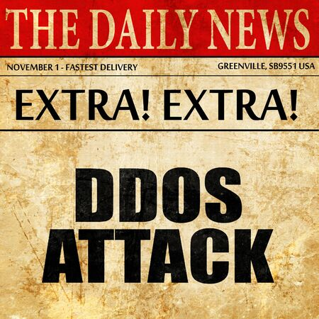 ddos attack, article text in newspaper Stock Photo