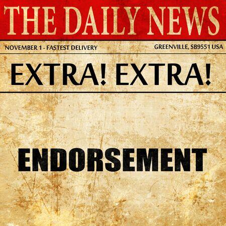 endorse: endorsement, article text in newspaper