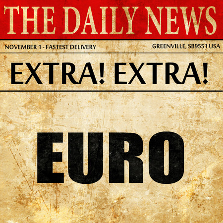 oney: euro, article text in newspaper Stock Photo