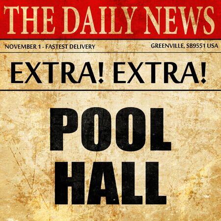 billiards halls: pool hall, article text in newspaper