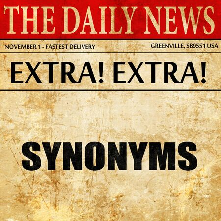 synonym: synonyms, article text in newspaper Stock Photo