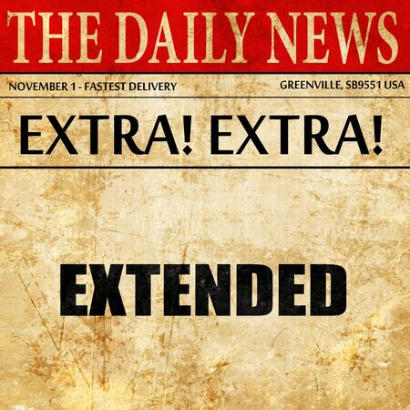 extensively: extended, article text in newspaper