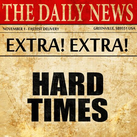 proble: hard times, article text in newspaper Stock Photo