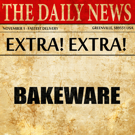 bakeware: bakeware, article text in newspaper Stock Photo