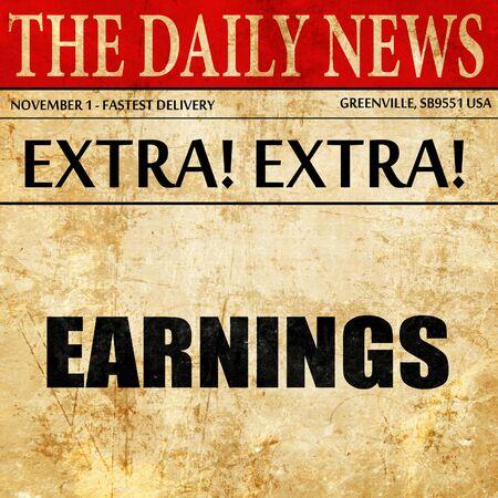 ganancias: earnings, article text in newspaper Foto de archivo