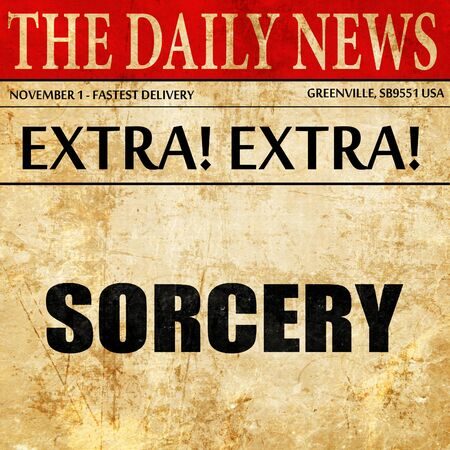 sorcery: sorcery, article text in newspaper Stock Photo
