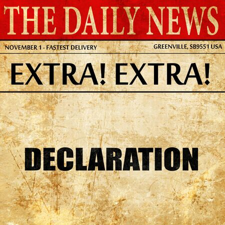 declaration: declaration, article text in newspaper