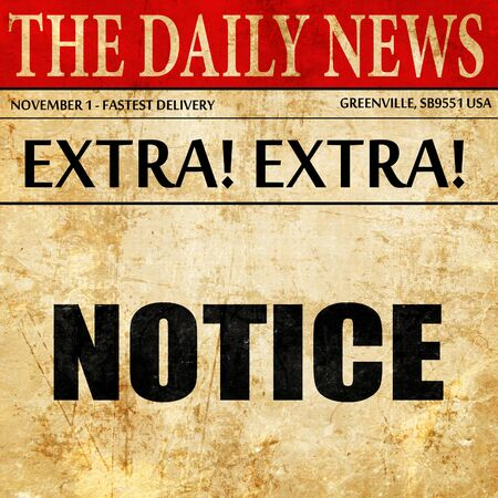 notice of: notice, article text in newspaper