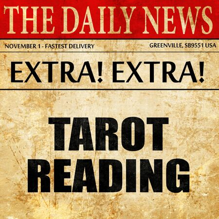 telepathy cards: tarot reading, article text in newspaper Stock Photo