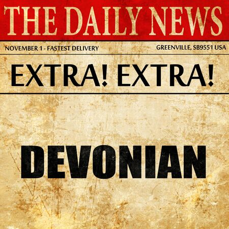 devonian: devonian, article text in newspaper Stock Photo