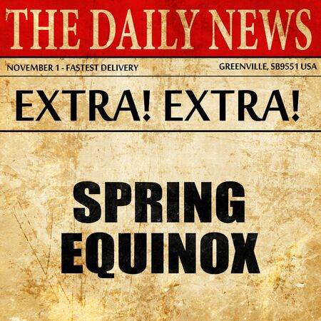 equinox: spring equinox, article text in newspaper Stock Photo