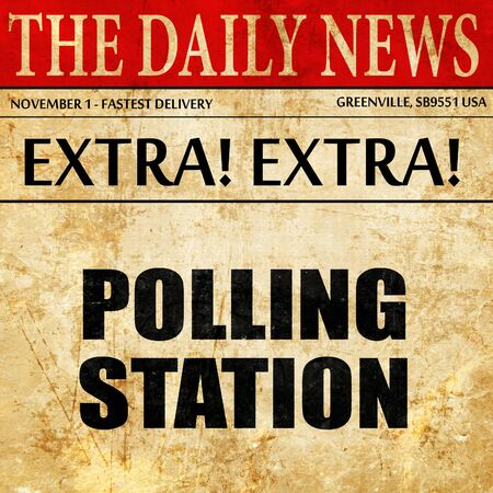 encuestando: polling station, article text in newspaper Foto de archivo
