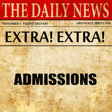 admissions, article text in newspaper