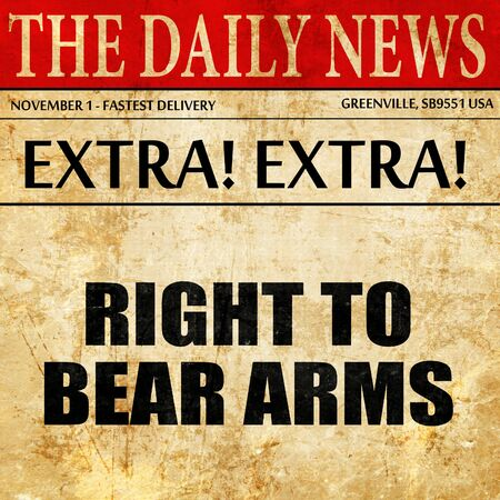 bill of rights: right to bear arms, article text in newspaper Stock Photo