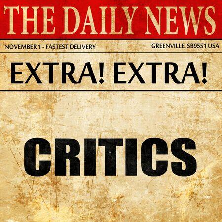 criticising: critics, article text in newspaper