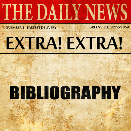 bibliography: bibliography, article text in newspaper Stock Photo