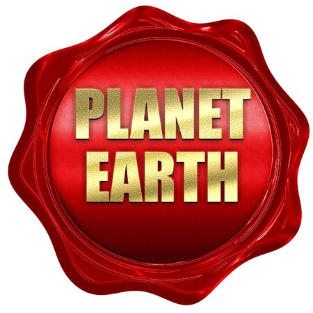 wax stamp: planet earth, 3D rendering, red wax stamp with text