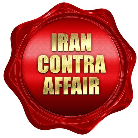 iran contra affair, 3D rendering, red wax stamp with text Stock Photo