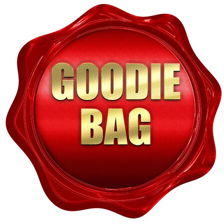 goodie: goodie bag, 3D rendering, red wax stamp with text Stock Photo