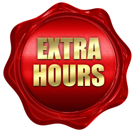 horas extras, representación 3D, sello de cera roja con el texto