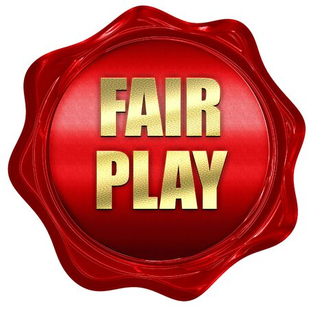 fair play: fair play, 3D rendering, red wax stamp with text