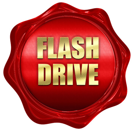usb memory: Flash drive, 3D rendering, red wax stamp with text Stock Photo