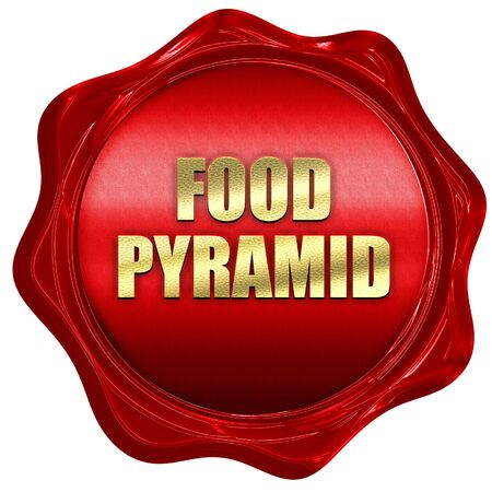 food pyramid, 3D rendering, red wax stamp with text