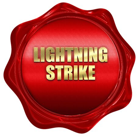 lightning strike, 3D rendering, red wax stamp with text Stock Photo