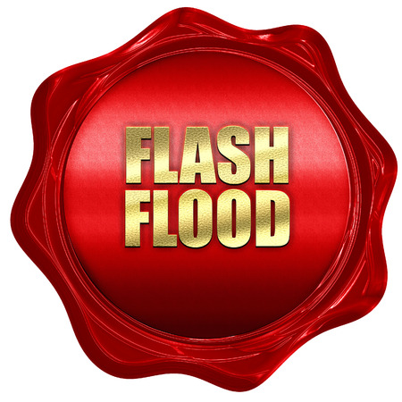 flash flood, 3D rendering, red wax stamp with text Stock Photo