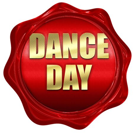 3d dance: dance day, 3D rendering, red wax stamp with text Stock Photo