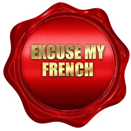 comunicación escrita: excuse my french, 3D rendering, red wax stamp with text Foto de archivo