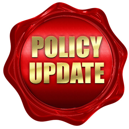 operational: policy update, 3D rendering, red wax stamp with text Stock Photo