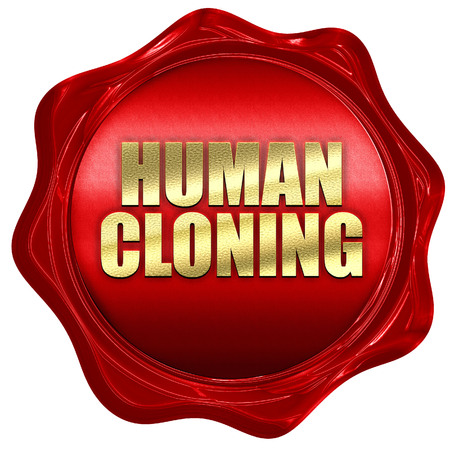 clonacion: human cloning, 3D rendering, red wax stamp with text