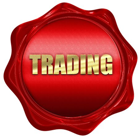 wax stamp: trading, 3D rendering, red wax stamp with text Stock Photo