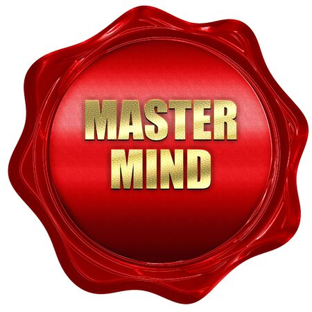 mastermind, 3D rendering, red wax stamp with text Stock Photo