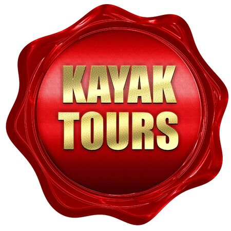 wax stamp: kayak tours, 3D rendering, red wax stamp with text