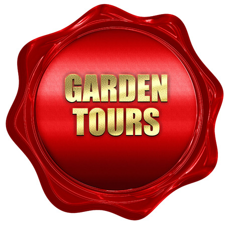 wax stamp: garden tours, 3D rendering, red wax stamp with text