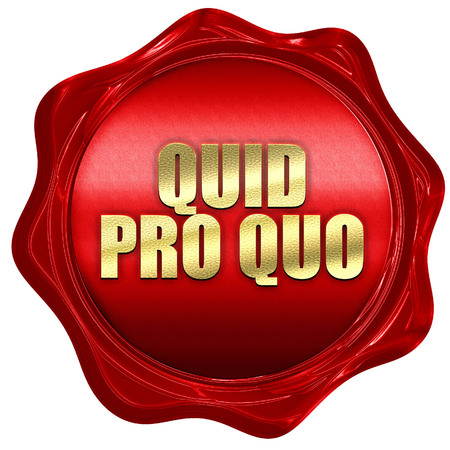 quid pro quo, 3D rendering, red wax stamp with text
