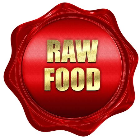 raw food, 3D rendering, red wax stamp with text
