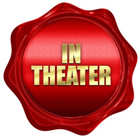 in theater, 3D rendering, red wax stamp with text Stock Photo