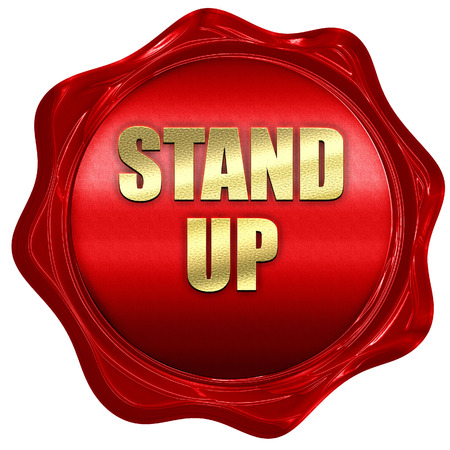 taking charge: stand up, 3D rendering, red wax stamp with text