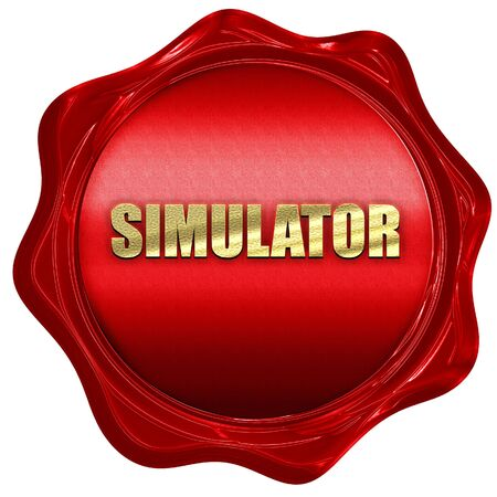 simulator: simulator, 3D rendering, red wax stamp with text