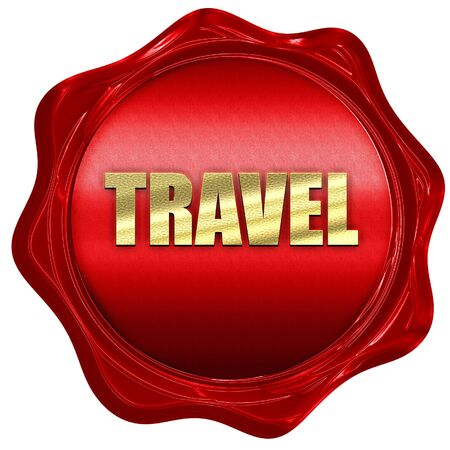 travel, 3D rendering, red wax stamp with text
