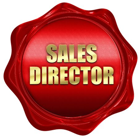 sales director, 3D rendering, red wax stamp with text Stock Photo