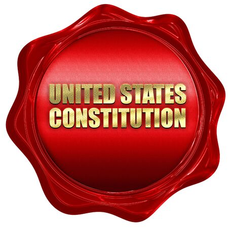 wax stamp: united states constitution, 3D rendering, red wax stamp with tex