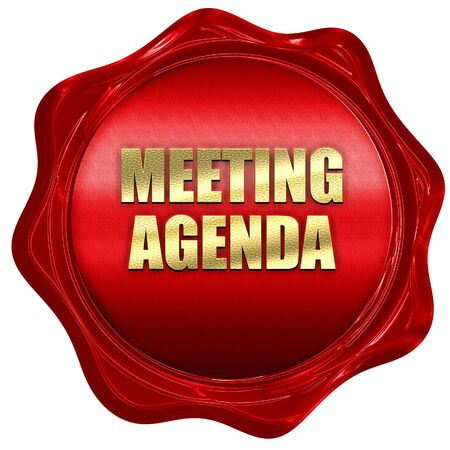 meeting agenda, 3D rendering, red wax stamp with text